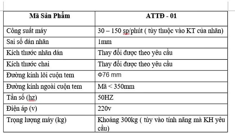 thông số kỹ thuật của máy dán nhãn chai vuông tại an thành