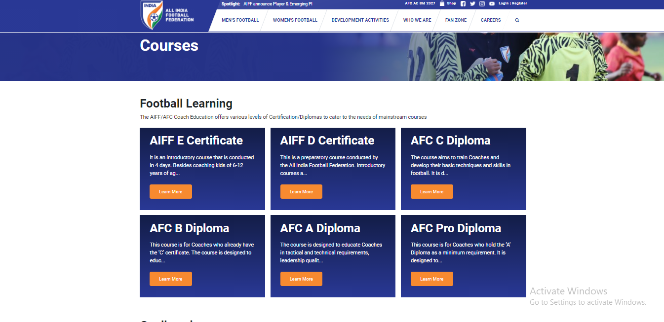 programs offered section of a sports academy