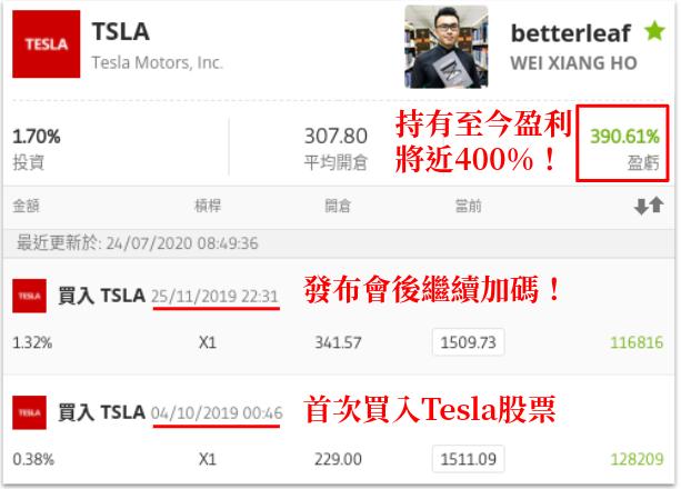 好葉投資Tesla