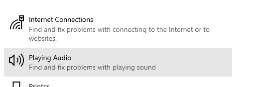 Playing Audio option