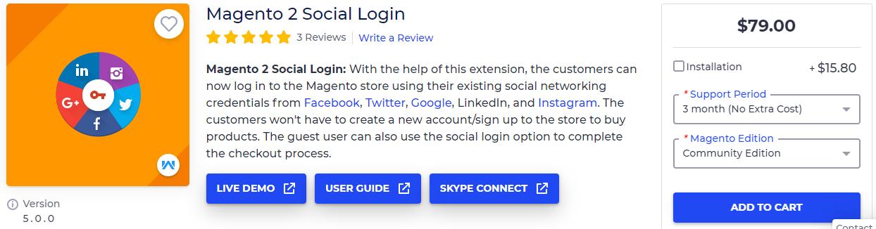 Magento 2 Social Login by Webkul