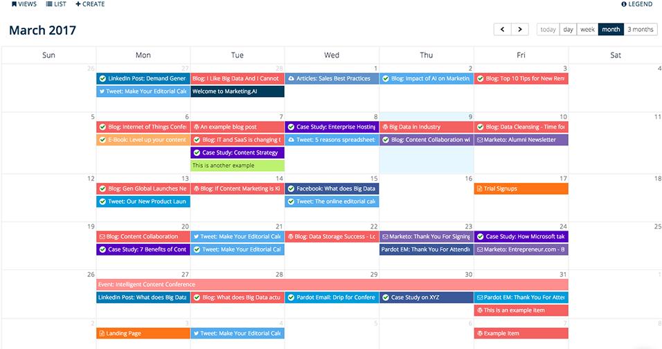 An example of Get Mintent's Editorial Calendar
