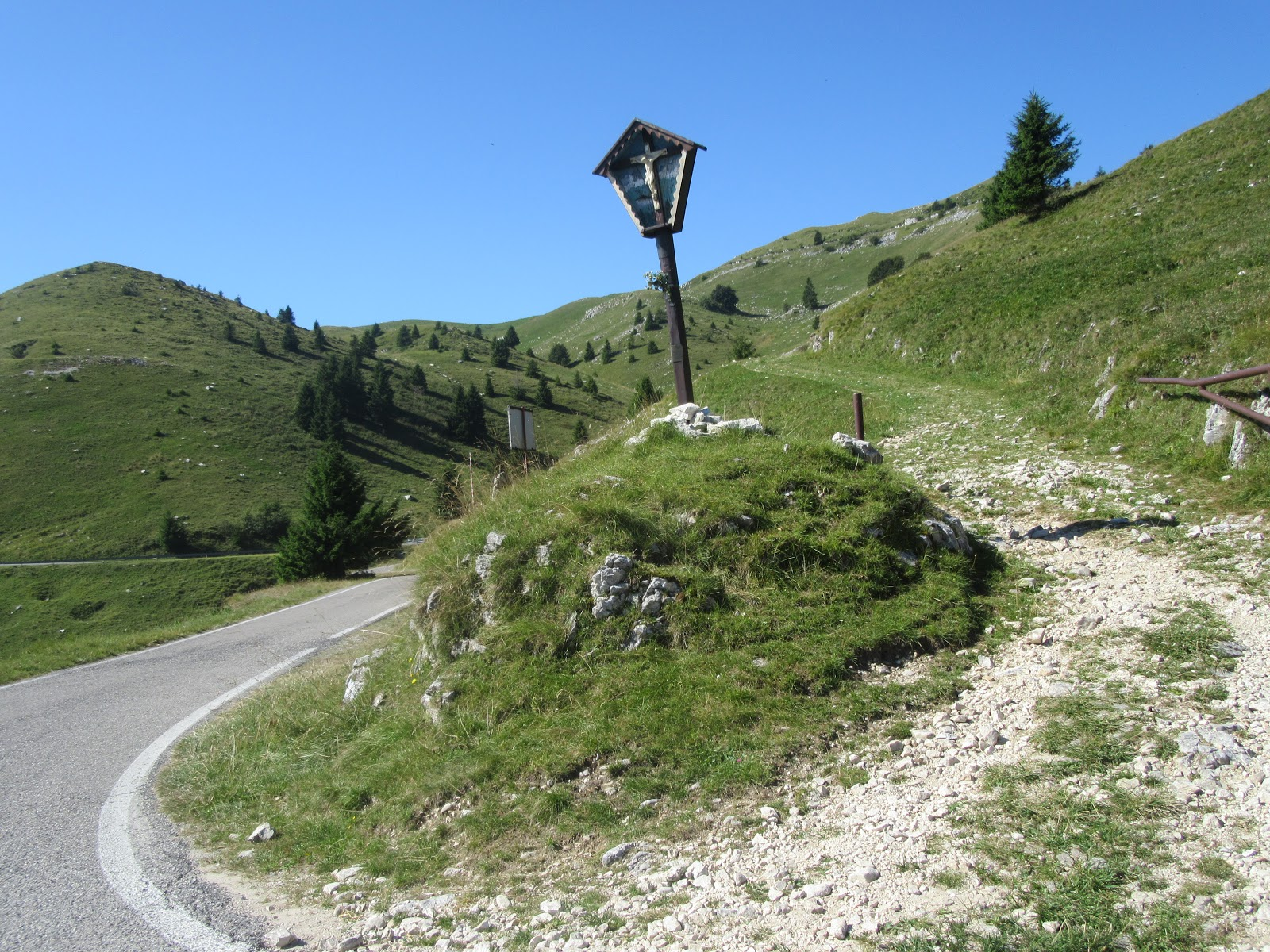 Bike climb of Monte Grappa from Crespano - paved road and gravel, light post
