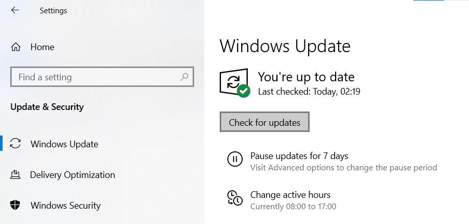 Windows Update page in Windows Settings