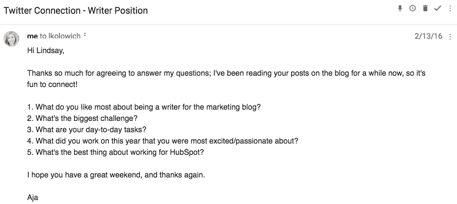 Wonderful Hereu0027s The Message I Sent Lindsay Kolowich When I Was Applying To The  HubSpot Sales Blog Writing Position (itu0027s An Email, Not An InMail, But  Could Just Have ...