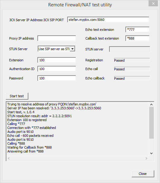 3CX Firewall Checker Client Application Pass