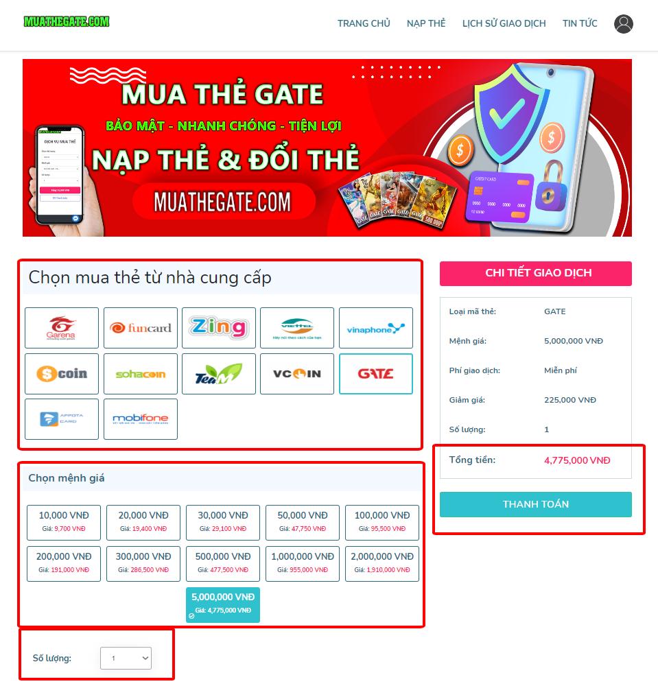 mua thẻ Gate bằng thẻ Viettel