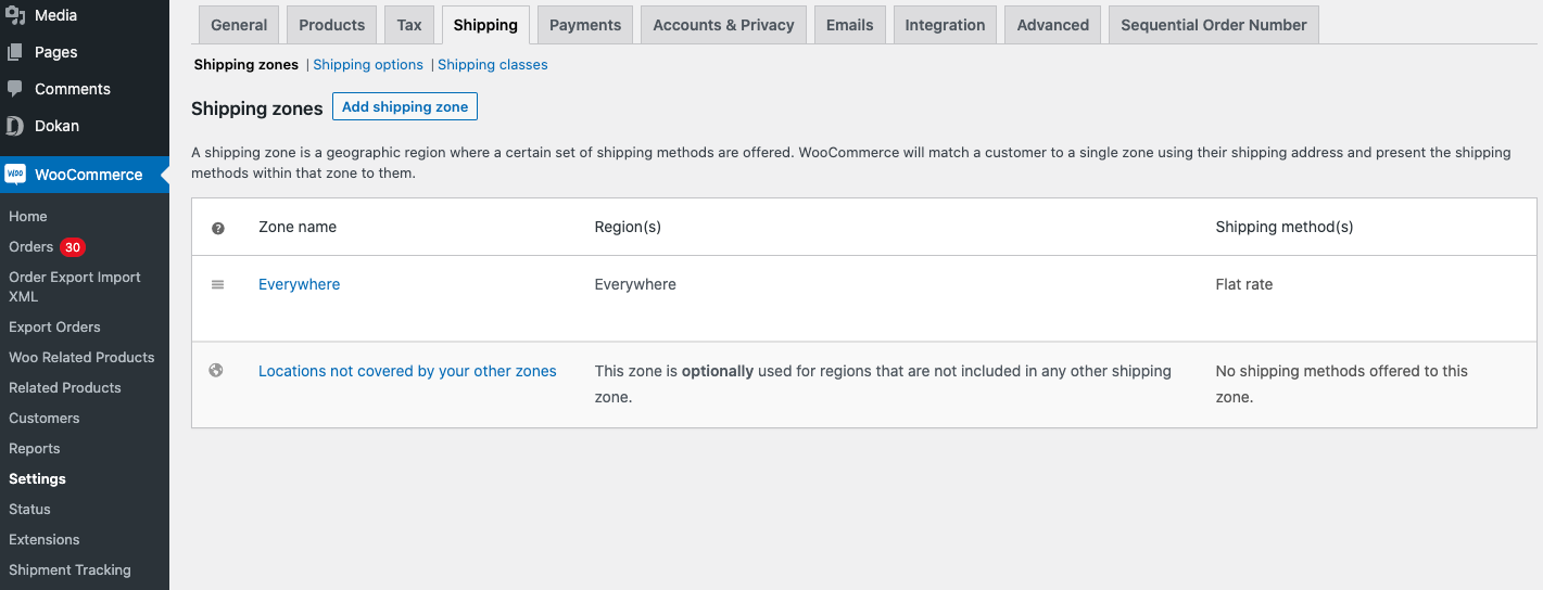Shipping settings section to add a shipping zone