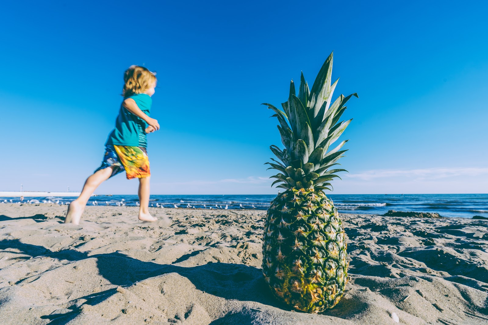Child Running on Huntington Beach, California