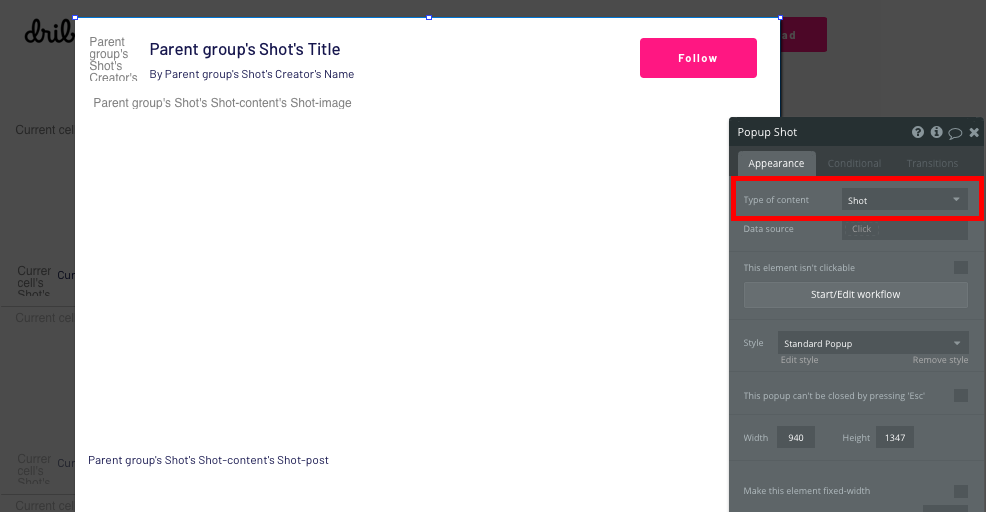 Creating a popup element to display a Dribbble shot