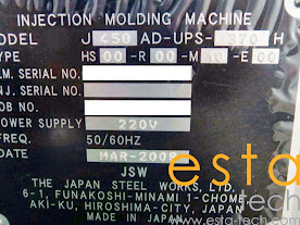 JSW J450AD-UPS 370H (2008) Ultra High Speed Hybrid Plastic Injection Moulding Machine