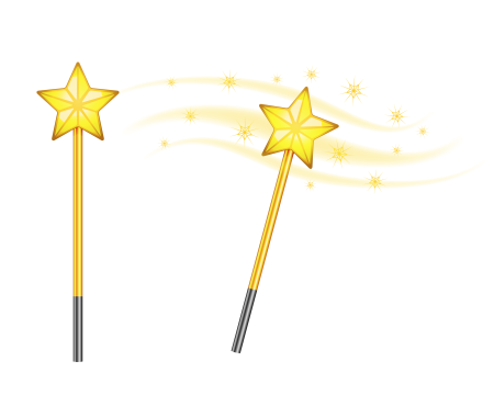 Star magic wand isolated on white background. Волшебная палочка