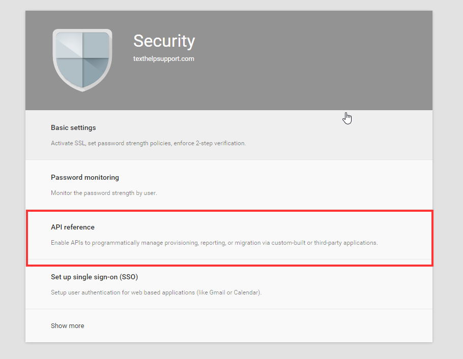 Google Admin Console Security API Reference