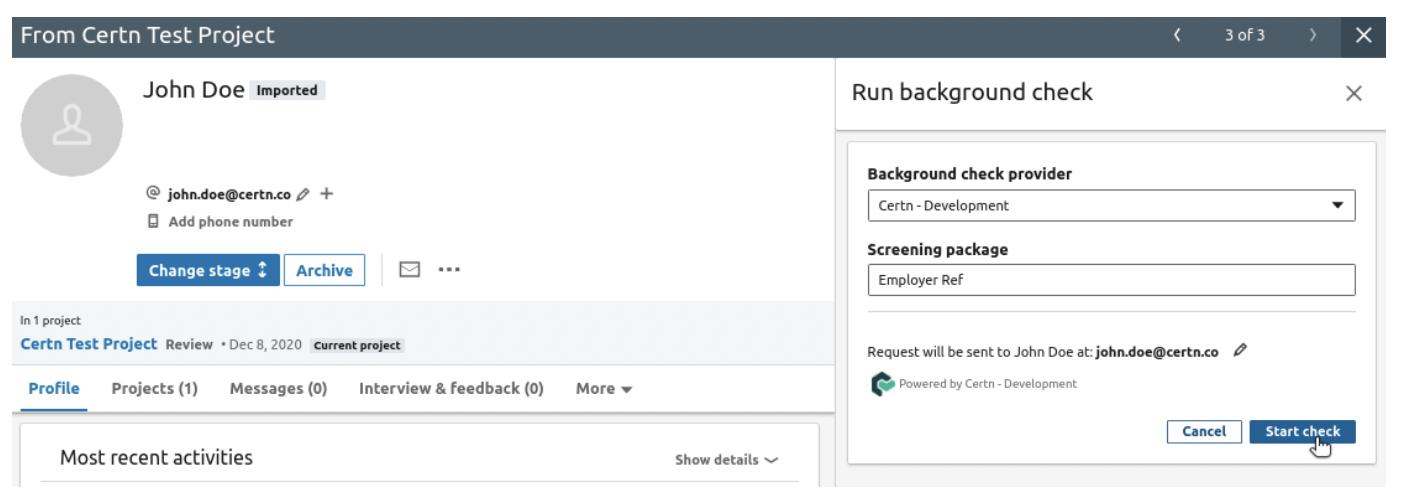 John Doe LinkedIn Profile. Start Background Check Process.