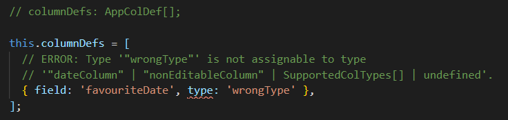 Error on not supported types