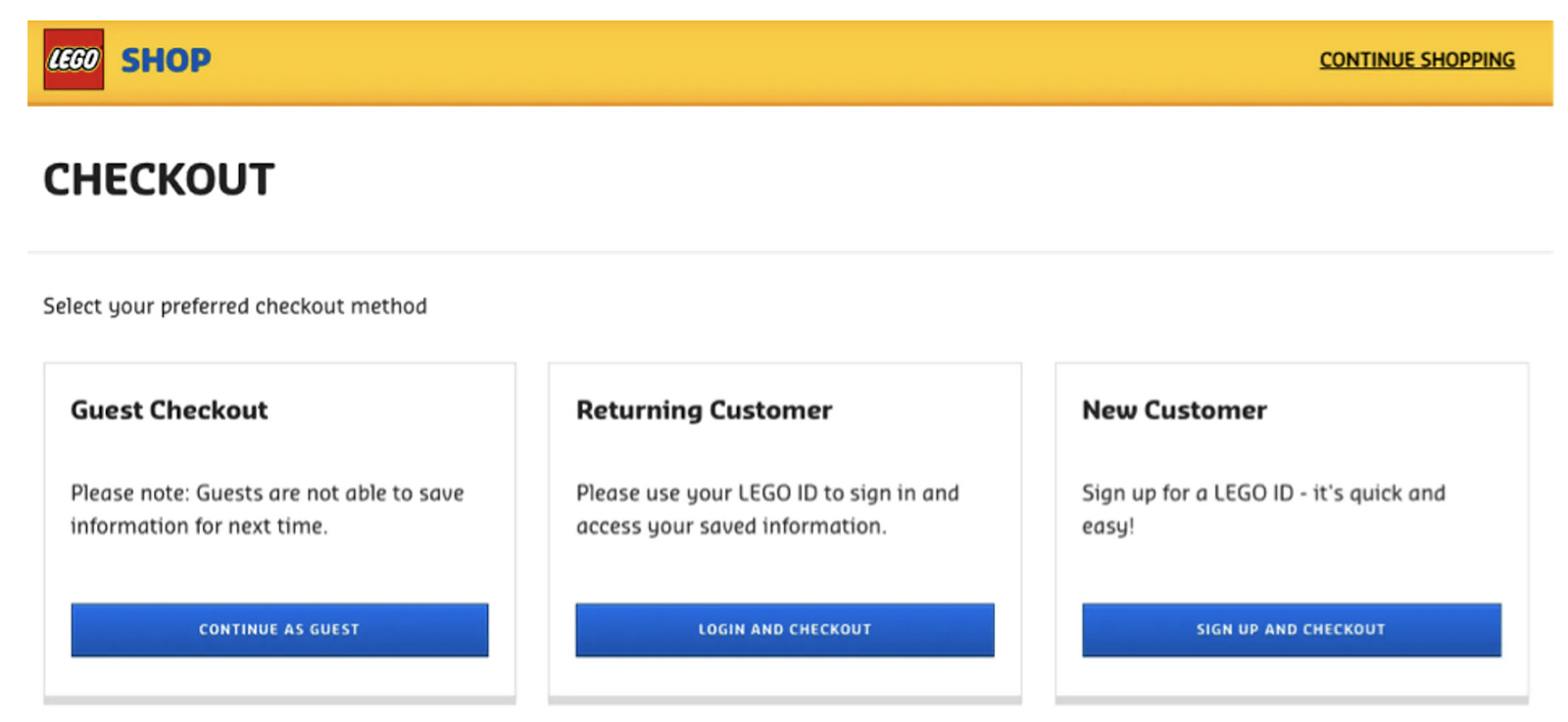 Lego offers multiple checkout methods