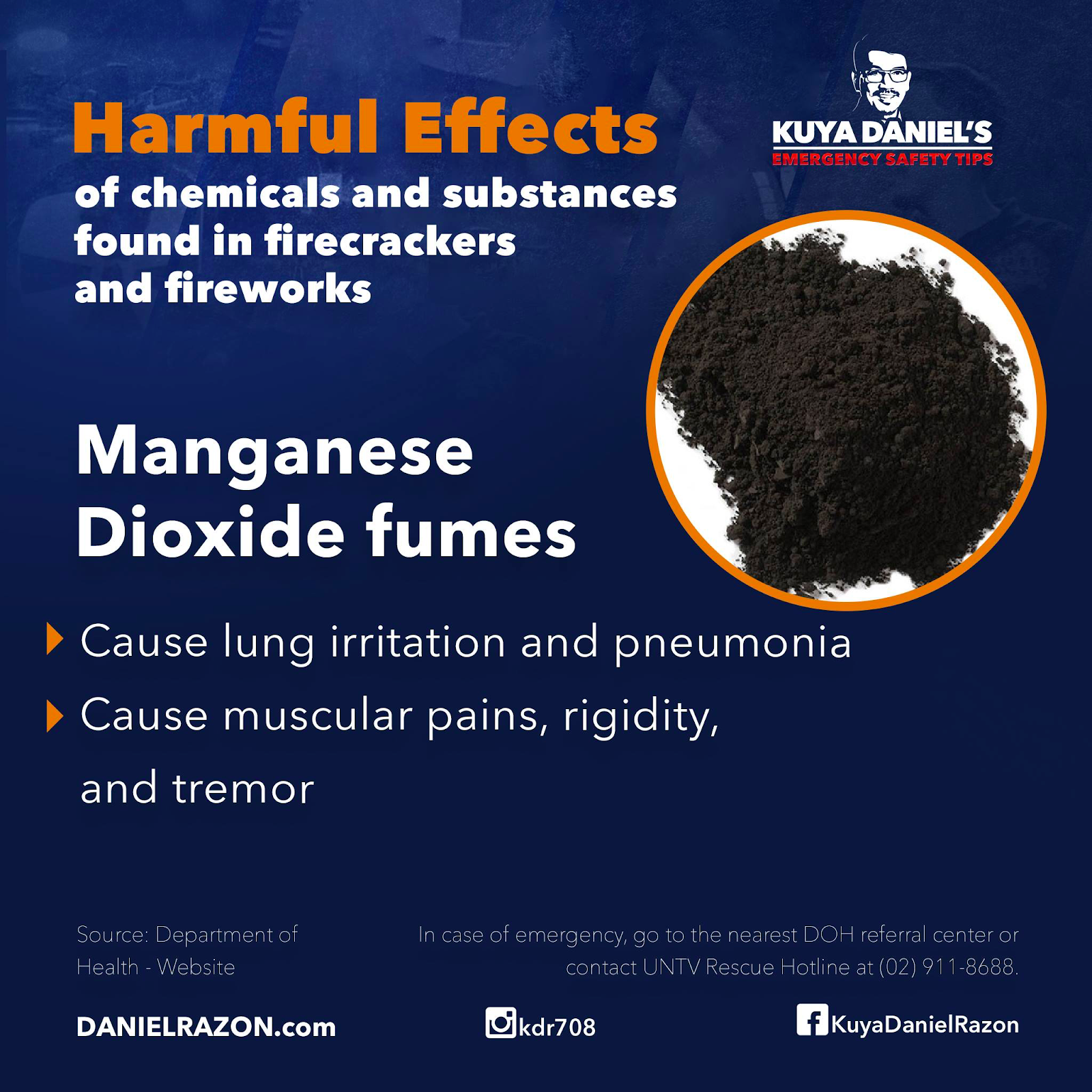 manganese dioxide fumes side effects in humans
