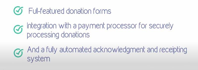 Features of fundraisingManager include full featured donation forms, integration with payment processors, automated acknowledgement and receipting.