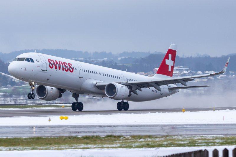 Swiss plane taking off