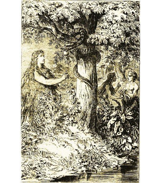 Ê-va bị rắn Satan cám dỗ ăn trái cấm.
