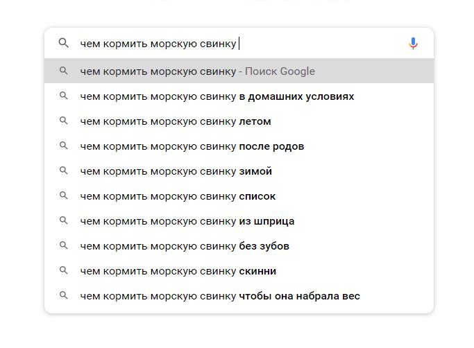 Пример подсказок в Google