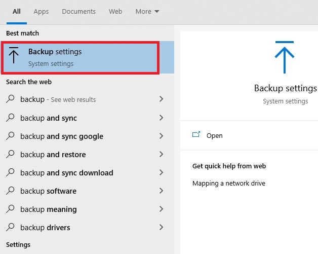 press the Start button and then type backup. The Backup settings program should appear. Open Backup settings.