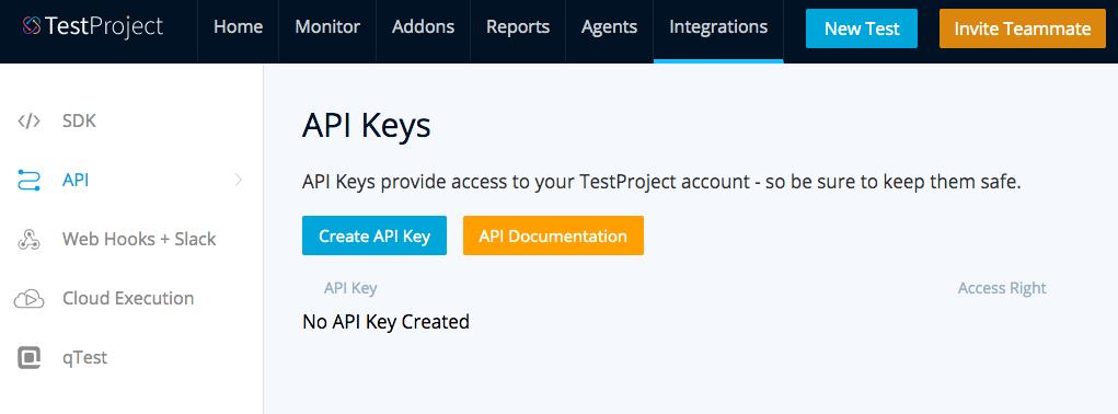 TestProject API Key