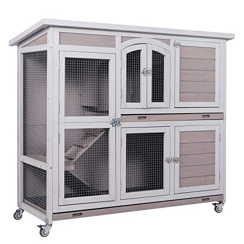 LINLUX Large 2-Story Rabbit Bunny Hutch Guinea Pig Cage with Wheels and Ramp, Indoor Outdoor Pet...