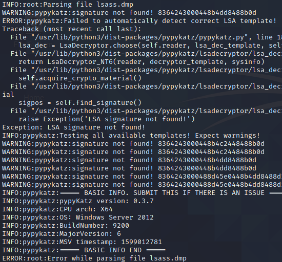 pypykatz error messagewhen extracting corrupted LSASS memory dump by white oak security