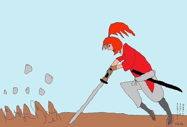 Kenshin practices the last of Mitsurugi's forms, the earth-shattering Do Ryu Sen.