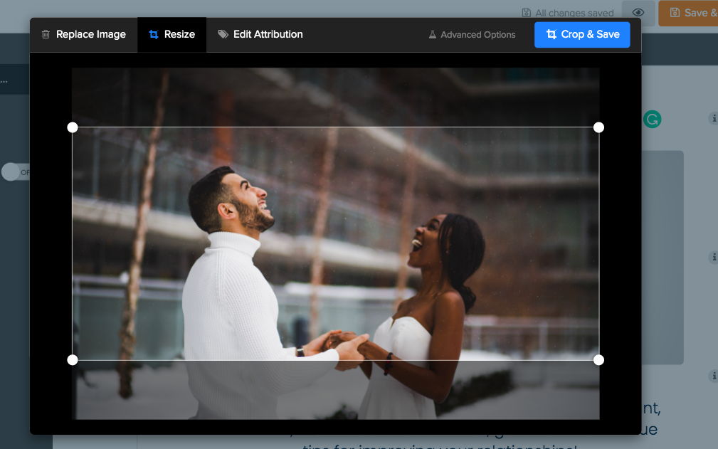 cropping a picture in Interact image editor
