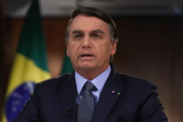 Jair Bolsonaro durante vídeo do discurso exibido na ONU