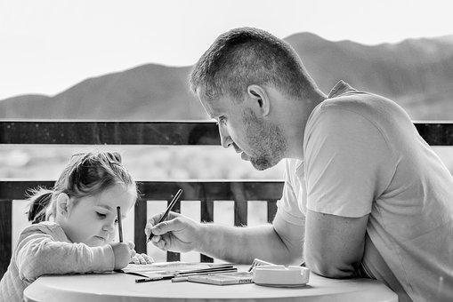 Girl Father Portrait Eyes Outdoor People C