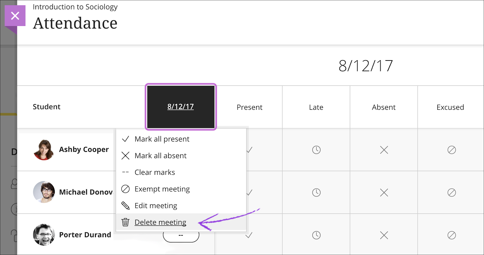 Image showing how to delete a meeting in meeting view