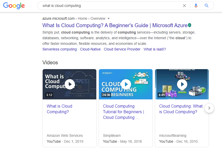 A screenshot of Google search results including a video carousel with videos directly answering the search query.