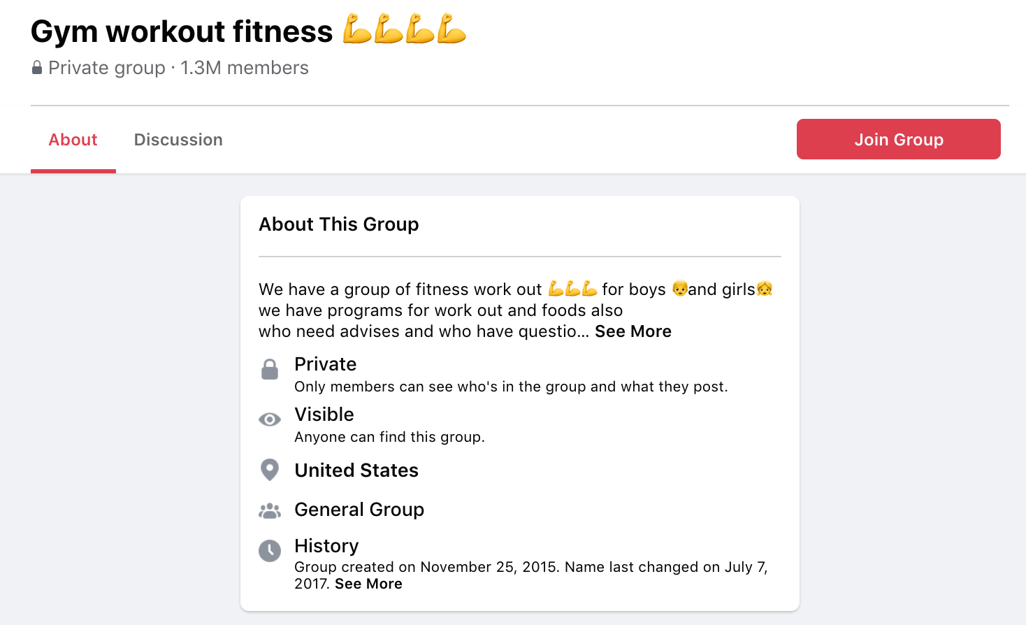facebook group gym workout fitness united states