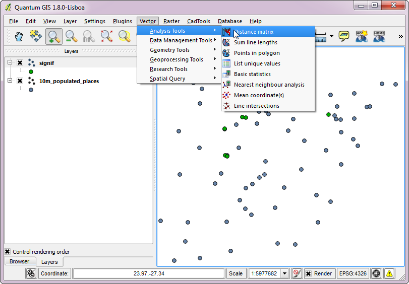 Quantum GIS (QGIS) Tutorials: Tutorial: Nearest Neighbor
