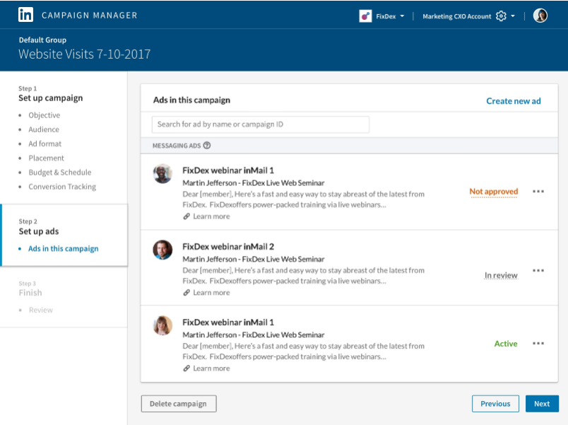 The dashboard gives you a clear breakdown of ads in your InMail campaign