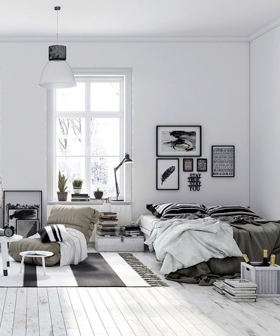 Tumblr Style for Gray and White Bedroom