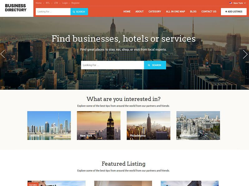 busines directory sample homepage overview