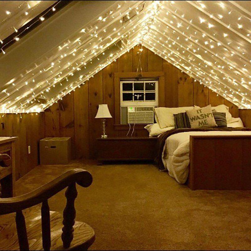 Attic Bedroom Ideas with Fairy Light