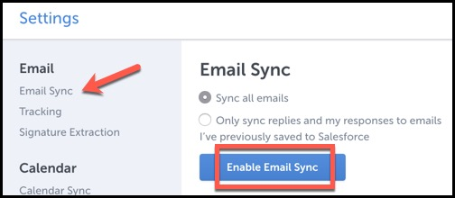 How do I enable and use Email Sync? | Cirrus Insight