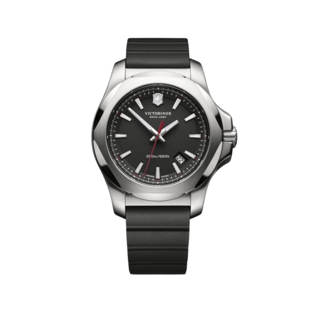Victorinox watch with a black silicone strap and a steel case and black dial.
