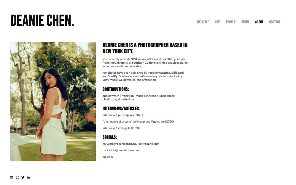 Screenshot of photography website design for Deanie Chen