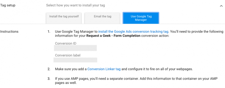 """Select how to install tags by """"Use Google Tag Manager."""""""