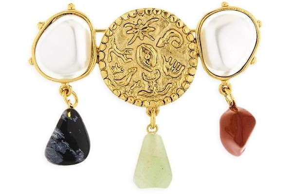 Oscar De La Renta 24K Goldplated & Mixed-Gemstone Coin Brooch from Saks Fifth Avenue