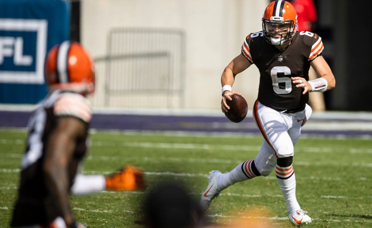Baker Mayfield #6 of the Cleveland Browns during a game against the Baltimore Ravens on September 13, 2020
