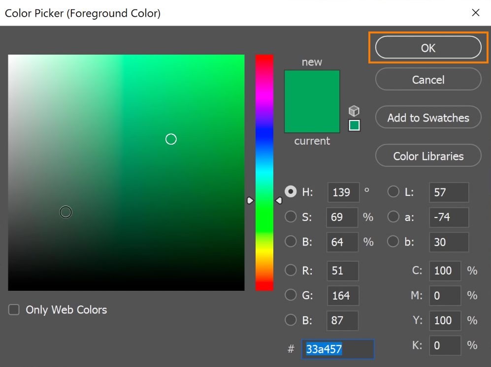 Select a color from the Color Picker window and press OK