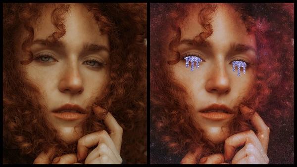Montagem com 2 fotos da mesma mulher com cabelos cacheados esvoaçantes mostrando o antes e depois da edição.