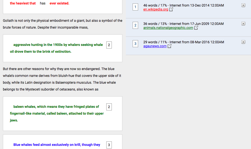 turnitin report sample